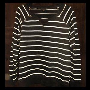 Black & White Striped Pullover Sweatshirt